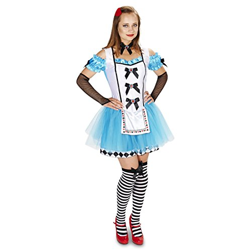 Classic Alice Adult with Thigh Highs, Glovelettes & Hair Clip Costume (Mad Hatter Costumer)