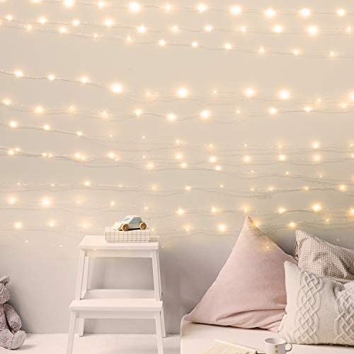 USB Fairy String Lights with ON/Off Switch and Power Adaptor, 8 Lighting Modes 66Ft 200LED Firefly String Lights for Bedroom Halloween Christmas Party Wedding Decor, Warm White