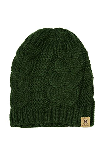Basico Unisex Warm Chunky Soft Stretch Cable Knit Beanie Cap Hat (102 Army - Beanie Knit Hat Cap Green