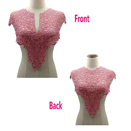 - 1 Sets (Front/Back) Pink/Red / Black/White Lace Neckline Collar Beautiful Flower Lace Applique Trim, Lace Fabric DIY Sewing Supplies(2Slices) (Pink)