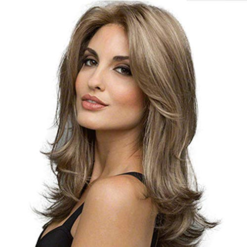 GGVK&W Wigs Women Omber Blonde Wavy Medium Length Long Curly Hairpiece Synthetic Heat Resistant Natural Cosplay Hair Wig Fancy Dress Halloween]()