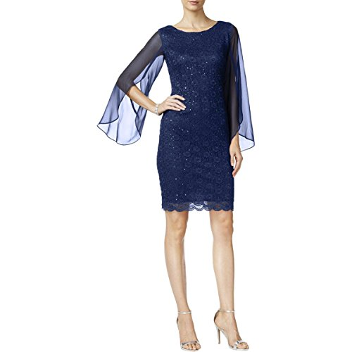 Womens Apparel Connected Sleeves Navy Cocktail Angel Sheath Dress RPaawO5x