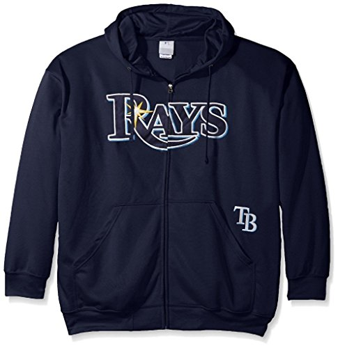 Majestic Tampa Bay Rays MLB Mens Full Zip Time Delay Hoodie Navy Blue Big & Tall Sizes (4XL) ()