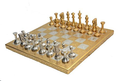 10X10 Inch Antique Brass Metal Chess set Large Big Size Hand Carved Indoor Games Chess Solid + All Brass Pieces in Golden Sliver with Velvet Storage Box (Solid Brass Chess Pieces)