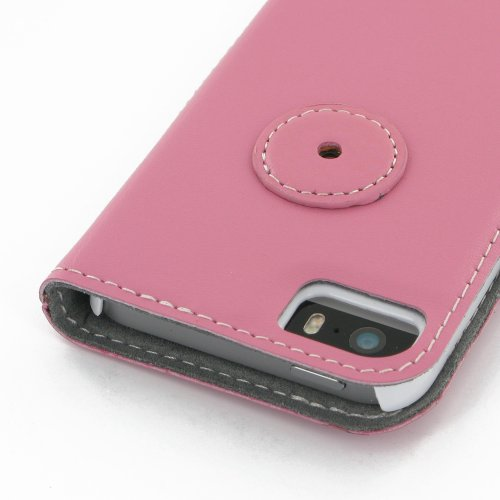 Apple iPhone 5s Ultra Thin Leather Case / Cover (Handmade Genuine Leather) - Book Type (Petal Pink) by Pdair