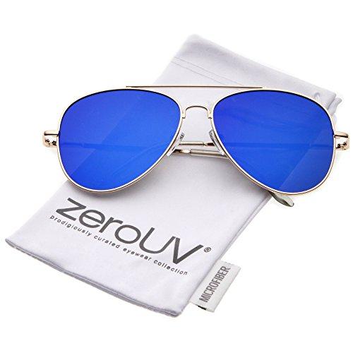 zeroUV - Large Metal Frame Colored Mirror Flat Lens Aviator Sunglasses 60mm (Gold / Blue - 2 Metal Large Aviator