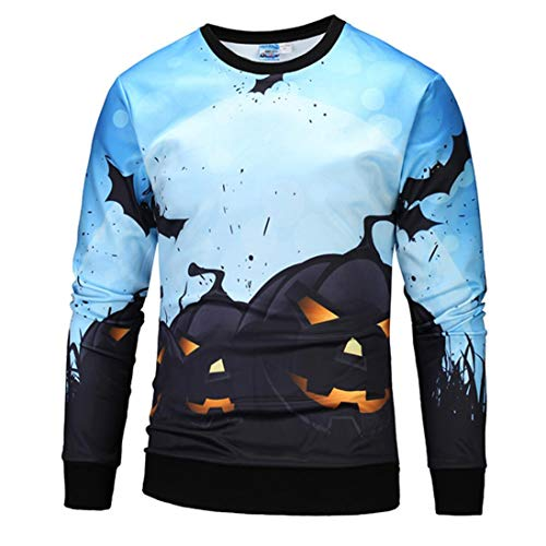 kaifongfu Men Scary Halloween Tops with Pumpkin 12D Print Long Sleeve Party Hoodie Blouse(Blue,L)