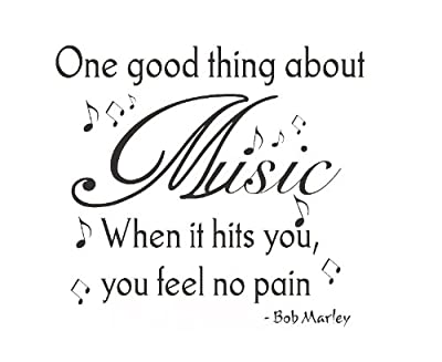 Dailinming PVC Wall Stickers Wall Quote Decal Vinyl Sticker Art Bob Marley Music Makes You Feel No Pain 61X56CM