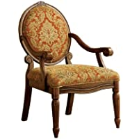 Furniture of America Gwyneth Victorian Style Padded Fabric Arm Chair, Antique Oak Finish