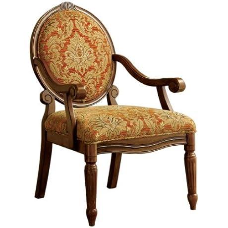 Furniture Of America Gwyneth Victorian Style Padded Fabric Arm Chair Antique Oak Finish