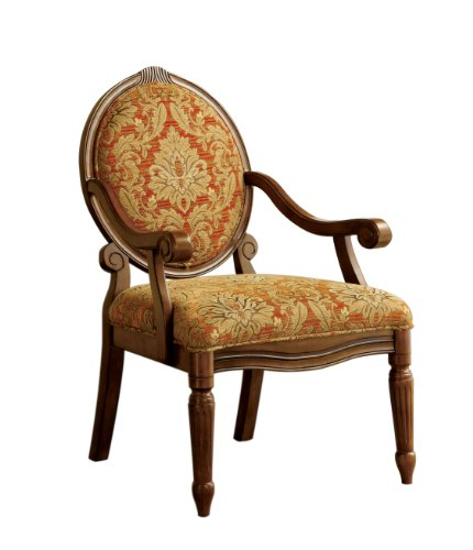 Victorian Antique Furniture - Furniture of America Gwyneth Victorian Style Padded Fabric Arm Chair, Antique Oak Finish