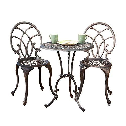- Great Deal Furniture Andover Outdoor 3pc Copper Cast Aluminum Bistro Set