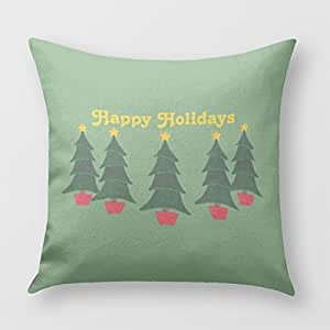 Happy Holidays - Christmas Tree Pillow Cover for Sofa or Bedroom