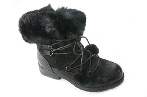 LADIES WOMENS POM POM LACE UP FUR LINED GOOD GRIP ANKLE BOOTS WORK OFFICE SIZE dKLW8