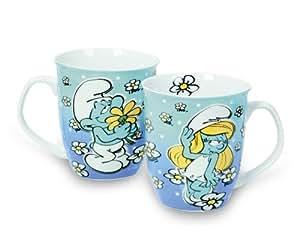 Los Pitufos - Taza de desayuno en caja regalo (porcelana), color blanco con diseño de Pitufo enamorado y Pitufina
