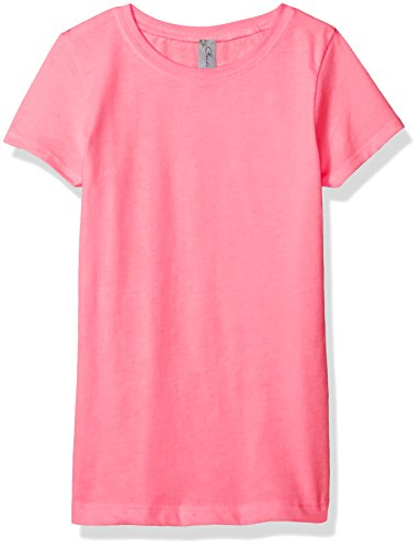 Clementine Apparel Girls' Little Everyday T-Shirt, Neon Heather Pink, S -