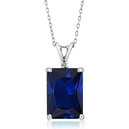 Emerald Cut Blue Sapphire (10.02 Ct Emerald Cut Blue Simulated Sapphire & White Diamond 925 Sterling Silver Pendant With 18 Inch Silver)