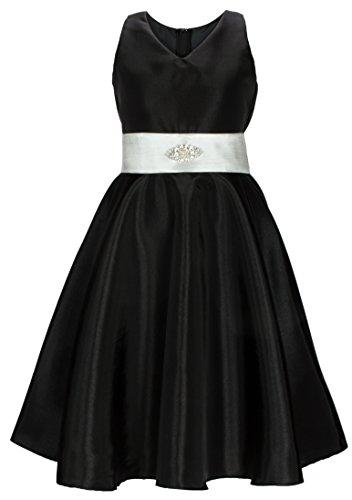 Wonder Girl Big Girls' Special Occasion V Neck Dress Brooch Sash Black 10
