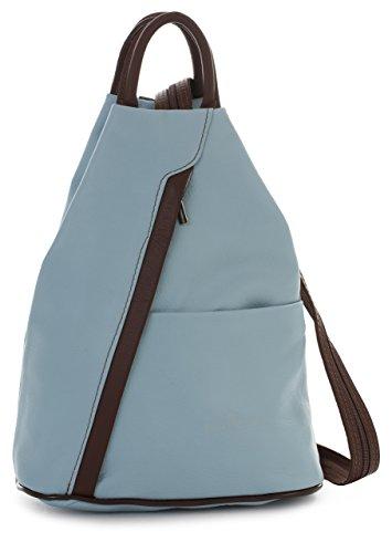 Trim Shopper (LiaTalia Unisex Soft Italian Leather Convertible Strap Small Backpack Rucksack Duffle Bag - Alex [Baby Blue - Brown Trim])
