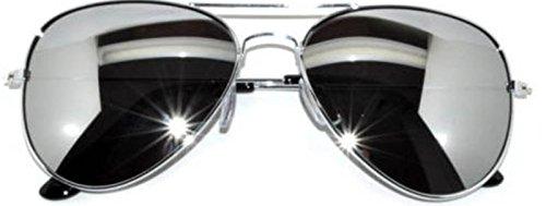 Classic Aviator Sunglasses Full Mirror Lens Metal Frame Silver Color UV Protection (avi_silver_mirror, - Color Aviator Full