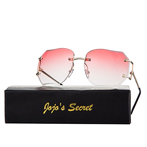 JOJO'S Secret Oversized Rimless Sunglasses,Retro Clear Lens Eyewear For Women (Transparent&Pink, - Sunglasses Secret Service