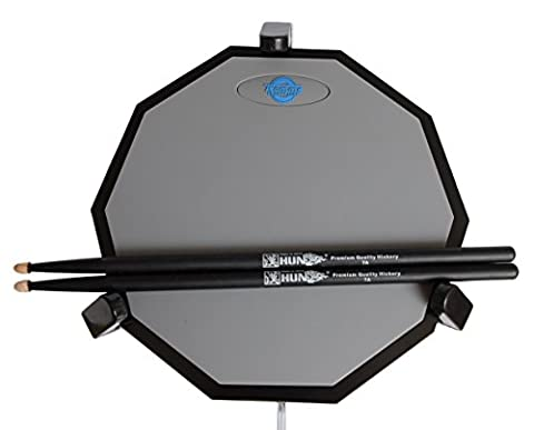 Tromme Drum Practice Pad & Carrying Case – 12 Inches – Two-Sided Silicone – Wooden Base with Real Drum Feel – Practice Quietly - Sticks and Stand NOT INCLUDED (Gray)