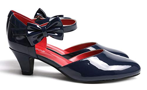 SugarPOP Salute Women's Retro Pump with Kitten Heel, Size 10 M US Navy