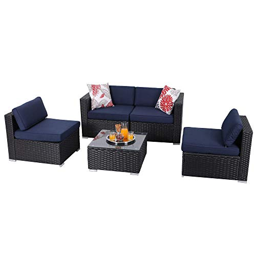 PHI VILLA Outdoor Furniture Wicker Patio Sectional Sofa Rattan Couch Set with Tea Table (5-Piece, Blue)