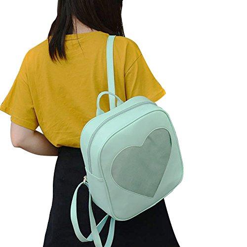 ShiningLove Summer Candy Transparent Love Heart Backpack School Shoulder Bags Teenager Girls Book Bag by ShiningLove