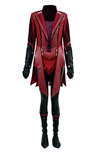 TISEA Women's Elizabeth Olsen Red Witch Cosplay Costume for Halloween and Cosplay Party (XS, Red)