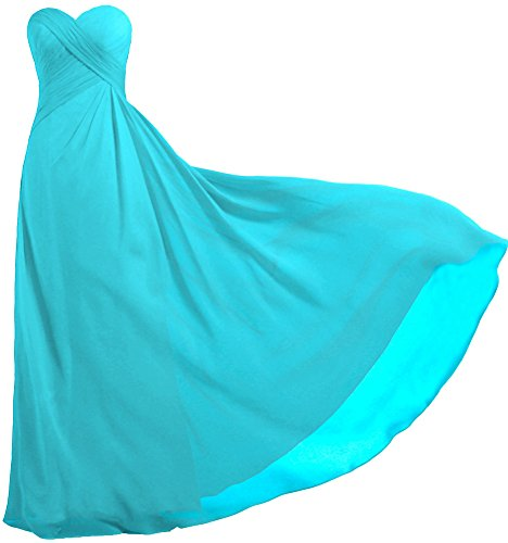ANTS Women's Strapless Long Bridesmaid Dresses Chiffon Wedding Prom Gown Size 2 US Sky Blue