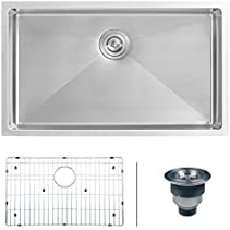 Ruvati RVH7300 Undermount 16 Gauge 30  Kitchen Sink Single Bowl, Stainless Steel