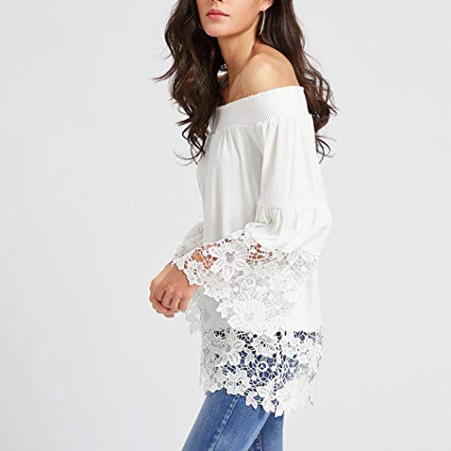 Sexy paule T Blanc Dentelle Longues Shirt Froide Femme Bringbrin Manches Tops Blouse rBIaqwrx