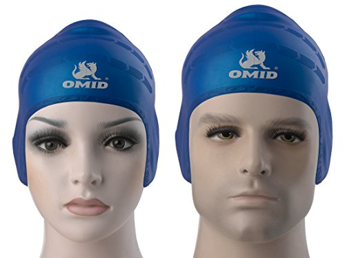 OMID Swim Cap with Ear Pockets Protection, 100% Silicone Great Elasticity and Durable for Teenagers and Unisex Adults, Ergonomic Design Long Hair Swimming Caps