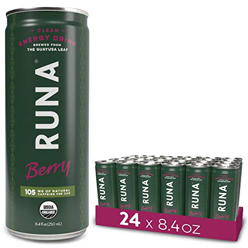 RUNA Organic Clean Energy Drink, Berry | High Caffeine Coffee Alternative | Sustained Energy Boost with No Jitters | Naturally Sweetened, 8.4 oz (Pack of 24)