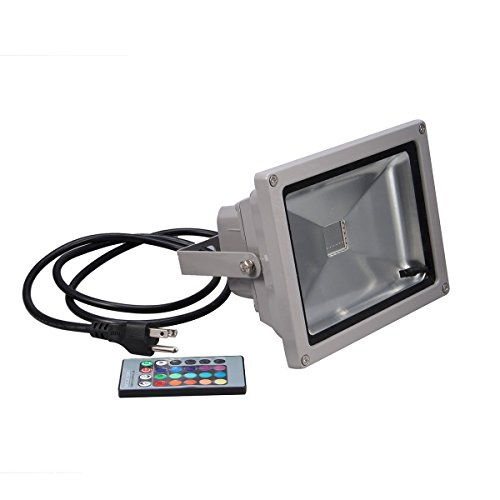 eBoTrade Outdoor LED Flood Light, 10W RGB Color Changing Waterproof Security Lights with US 3-Plug & Remote Control for Garden,Scenic Spot,Hotel (130v Spot)