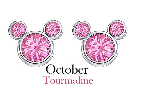 October Birthstone Tourmaline Mickey Mouse Stud Earrings In 14k White Gold Over Sterling Silver October Birthstone Tourmaline