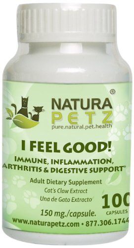 Natura Petz I Feel Good  Immune Inflammation Arthritis and Digestive Support for Pets 100 Capsules Extract 150mg per Capsule