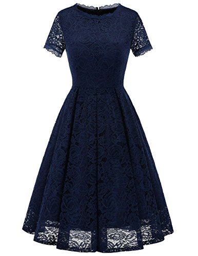 (DRESSTELLS Women's Bridesmaid Vintage Tea Dress Floral Lace Cocktail Formal Swing Dress Navy)