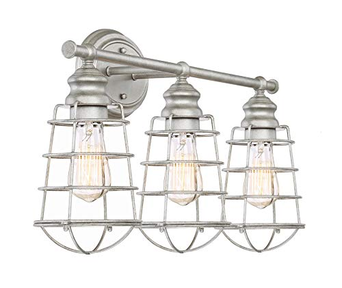Kira Home Owen 26'' 3-Light Industrial Vanity/Bathroom Light + Metal Cage Shades, Galvanized Steel Finish by Kira Home (Image #5)