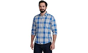 UNTUCKit Fiano - Untucked Shirt for Men Long Sleeve, Blue & Grey Year-Round Plaid