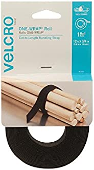 VELCRO Brand - ONE-WRAP Roll, Double-Sided, Self Gripping Multi-Purpose Hook and Loop Tape, Reusable, 12'