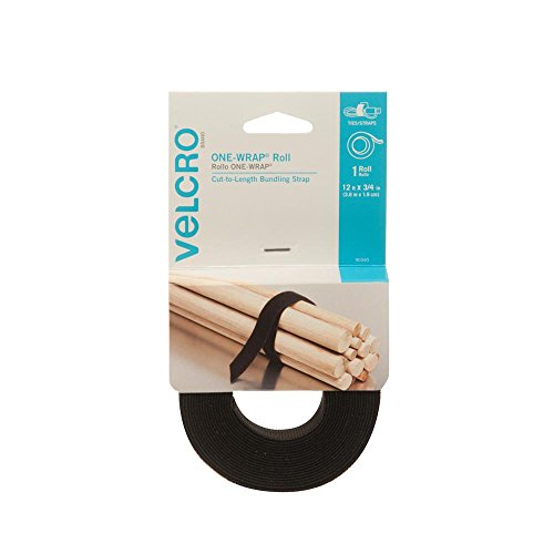 "VELCRO Brand - ONE-WRAP Roll, Double-Sided, Self Gripping Multi-Purpose Hook and Loop Tape, Reusable, 12' x 3/4"" Roll - Black"