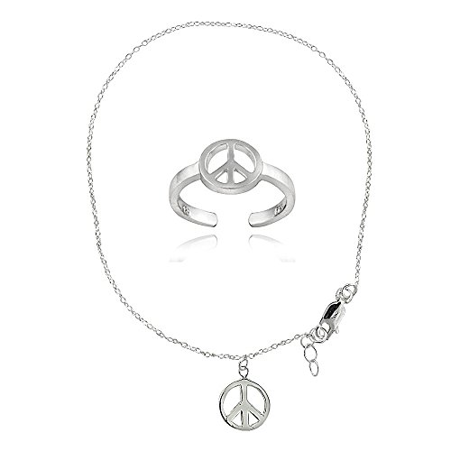 - Hoops & Loops Sterling Silver Peace Sign Anklet and Toe Ring Set