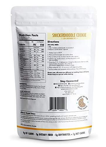 Good Dee's Snickerdoodle Cookie Mix – Low carb, Keto friendly, Sugar Free, Gluten free, Grain Free, Atkins friendly, Diabetic friendly, WW Friendly, 1g net carbs , 12 servings