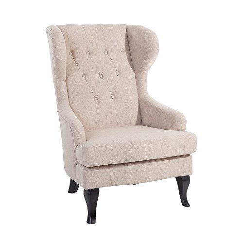 Modern Wingback Armchair Button Tufted Beige Fabric Rolled Arms Alta by Beliani