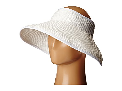 SCALA Women's Packable Paper Braid Visor, White, One Size