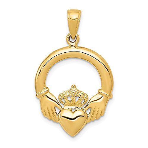 14k Yellow Gold Polished Claddagh Charm Pendant