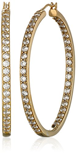 Gold Plated Sterling Silver Hoop - Yellow Gold Plated Sterling Silver Hoop Earrings set with Round Cut Swarovski Zirconia (2.34 cttw), 1.5