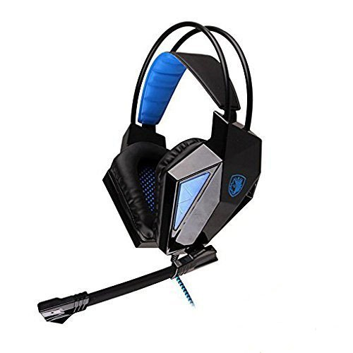 Wired Gaming Headset with Mic,Sades 709 3.5mm Stero Over Ear Headphone for PC Laptop Notebook Tablet Smartphone by AFUNTA-Blue